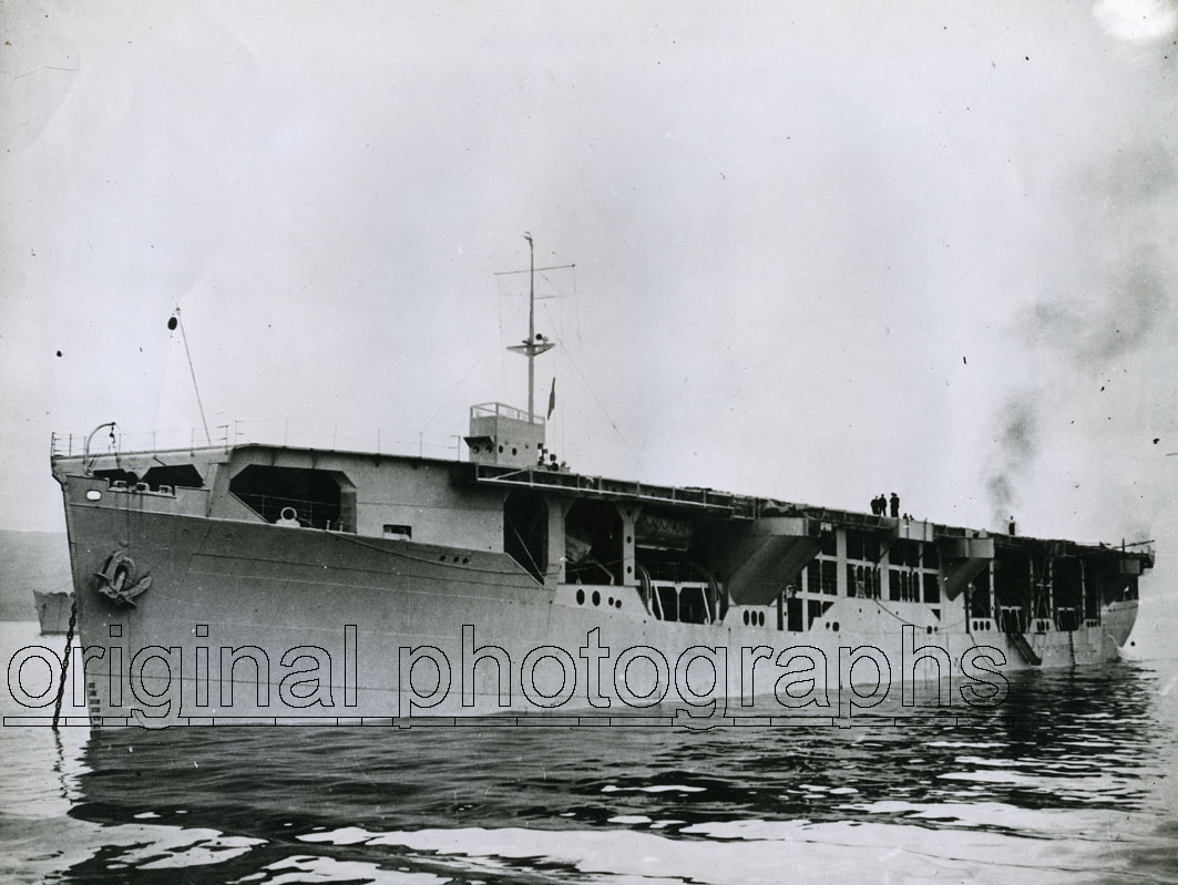 HMS RAPANA. - Side front view of the Merchant Aircraft Carrier HMS Rapana.